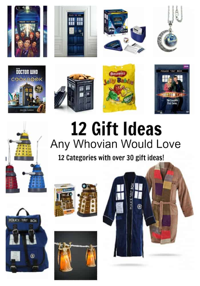 12 Gift Ideas Any Whovian Would Love - Includes 12 categories with over 30 Doctor Who gift ideas!  - #doctorwho #giftideas #whovian #doctorwhogift #giftguide