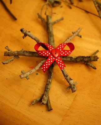 Snowflake, Snowflake Ornament, Rustic Ornament, Stick Ornament