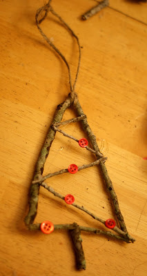 Christmas Tree Ornament, Rustic Ornament, Stick Ornament