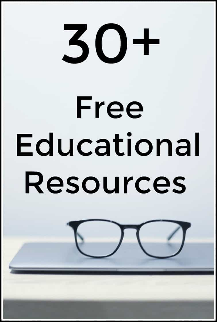 30+ Free Educational Resources - Great educational resources for a variety of subjects.