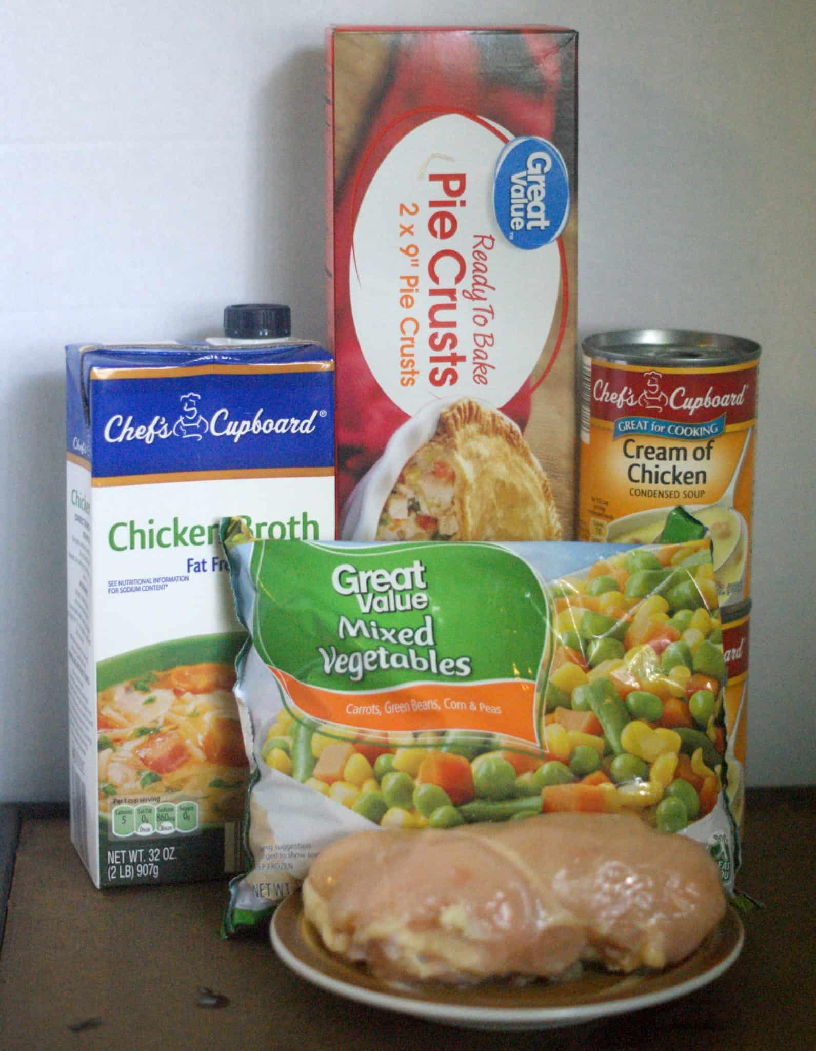 Chicken Pot Pie ingredients - Chicken breasts, mixed vegetables, chicken broth, pie crust, cream of chicken soup