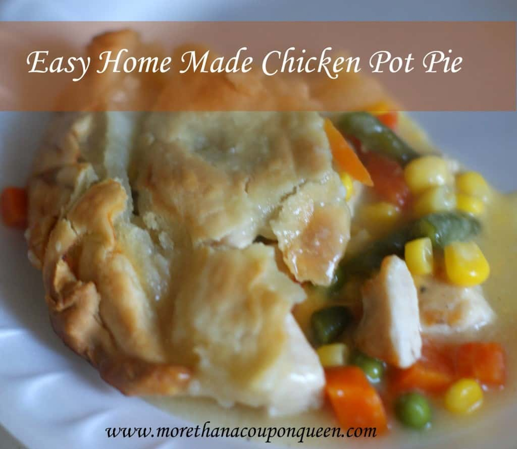 Easy Home Made Chicken Pot Pie - One of my favorite foods is chicken pot pie. There is just something so delicious about eating all the veggies, then the meat potatoes and crust together afterwards. Ok, so maybe I am a bit OCD. The point is, pot pie is delicious. I have had a problem with the cost and ingredients that come with many of the store varieties of pot pie. I decided it was time to make my own. Check out this easy Chicken Pot Pie recipe! How do you eat your pot pie? Do you have an order or do you just dig in?