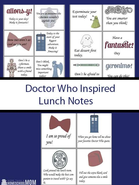Doctor Who Inspired Lunch Notes - #DoctorWho #Lunchboxnotes #freeprintable #printable #encouragement #geek