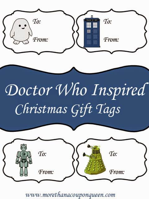 Free Doctor Who Inspired Gift Tags - Perfect for gifts for Doctor Who fans. These free Doctor Who Christmas Gift Tags would make the perfect addition to any gift and it's a free printable!