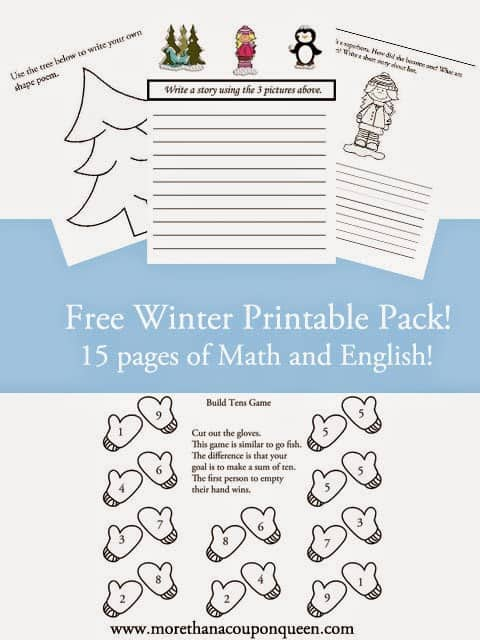 Free Winter Printable Pack - 15 pages of Math and English
