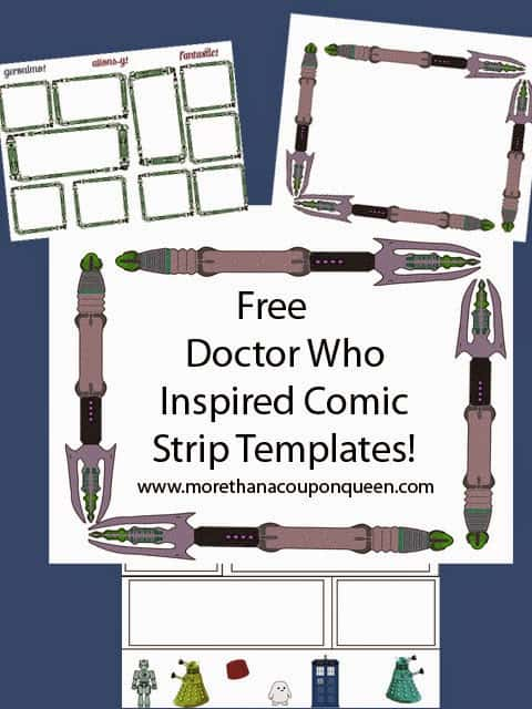 Free Doctor Who Inspired Comic Strip Templates - Lately I have seen some amazing Doctor Who comics coming out. I even have a few of them. Comics are a great way to get your child reading who may have a hard time. Creating their own comic is also a great way to get your child thinking creatively. I have put together some great Doctor Who Inspired Comic Templates. Your child can work on art and writing at the same time. If your child is not great at art, don't worry. I have included some characters they can cut out to build their own story.