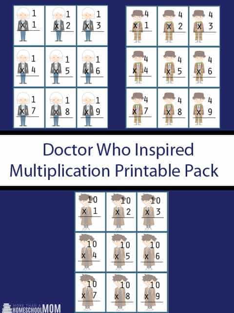 Doctor Who Inspired Multiplication Flash Cards Printable