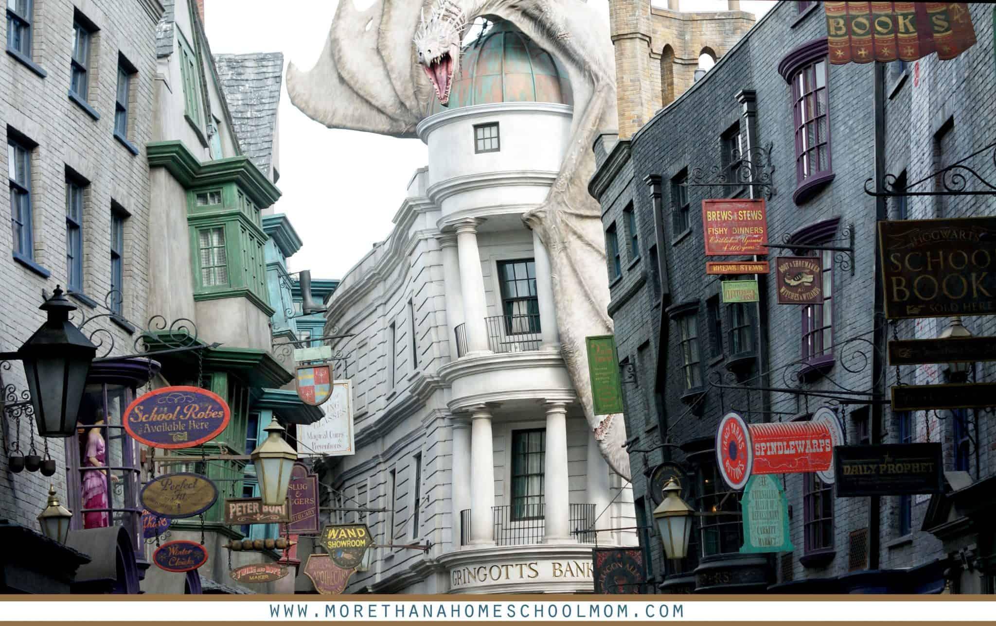 Intro to Diagon Alley with view of dragon on Gringotts bank - #UniversalStudios #DiagonAlley #Travel #Florida #orlando #Universal
