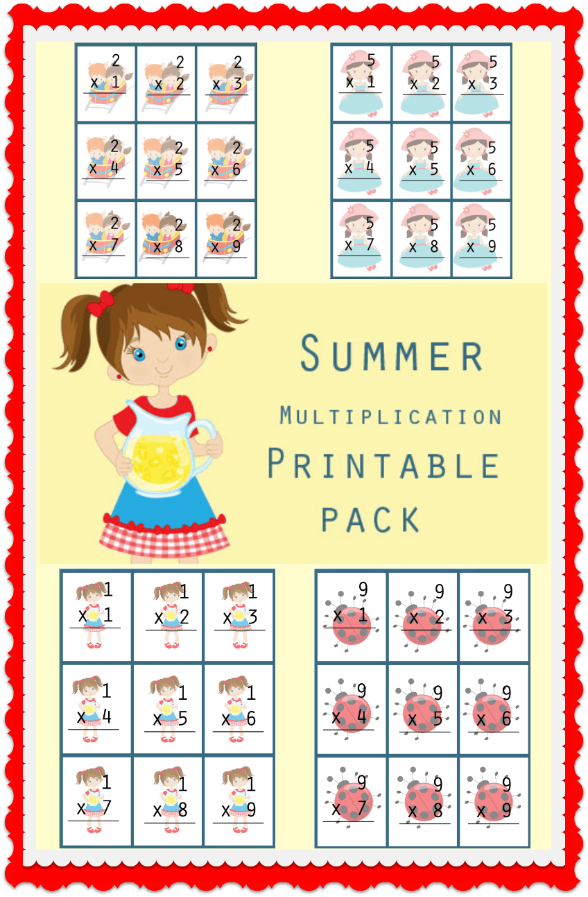 Summer Multiplication Facts Printable Pack - #freeprintable #printables #Math #Summer #SummerLearning #homeschool #education #Flashcards #learn #Teach