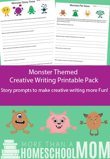 Monster Themed Creative Writing Printable Pack - #creativewriting #freeprintable #printable #writing #homeschool #edchat #education