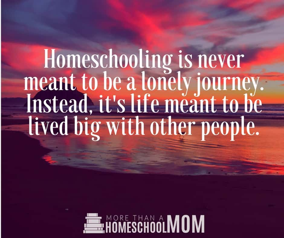 Homeschooling is never meant to be a lonely journey. Instead, it's life meant to be lived big with other people. - #homeschool #homeschooling #homeschooled #education #edchat #quote #quotes