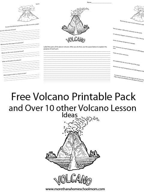 Free Volcano Printable Pack and over 10 volcano lesson plan ideas for teaching about volcanoes.