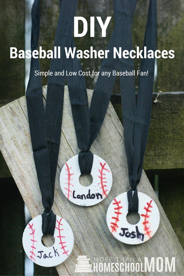 DIY Baseball Washer Necklaces - #baseball #diy #craft