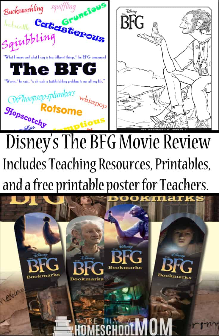 Disney's The BFG Movie Review Includes Teaching Resources, Printables, and a free printable poster for Teachers.