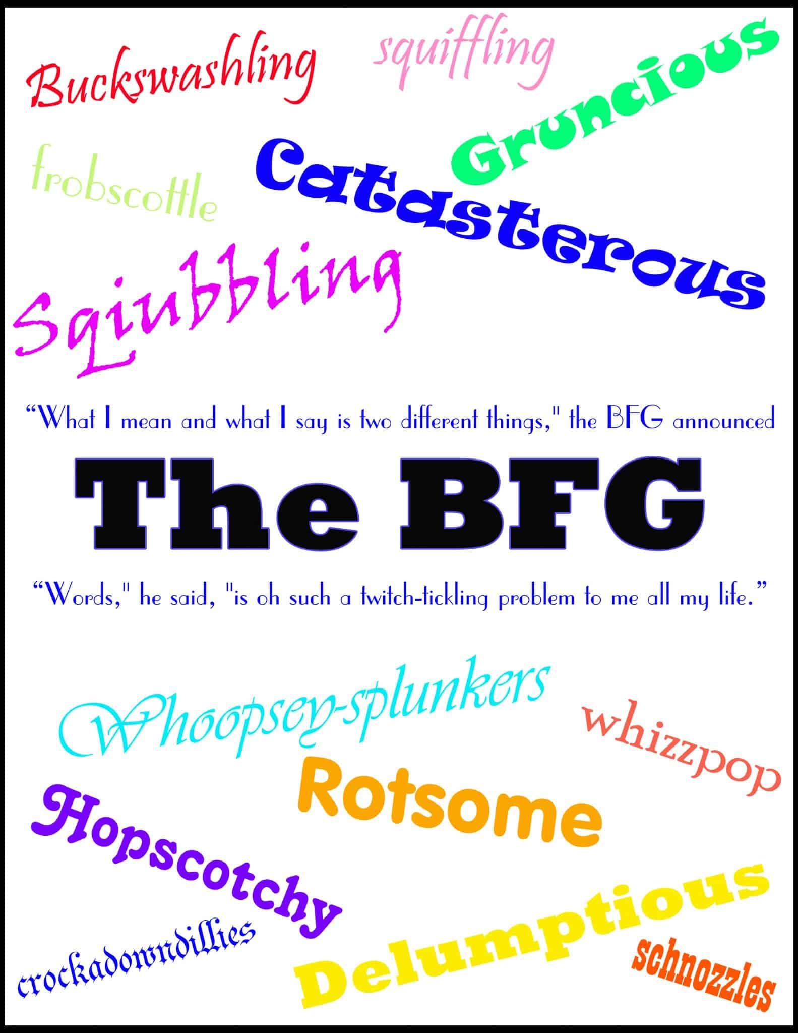 The BFG Words Binder Cover Printable