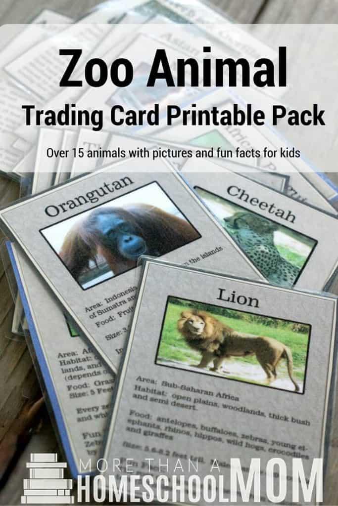 Zoo Animal Trading Card Printable Pack