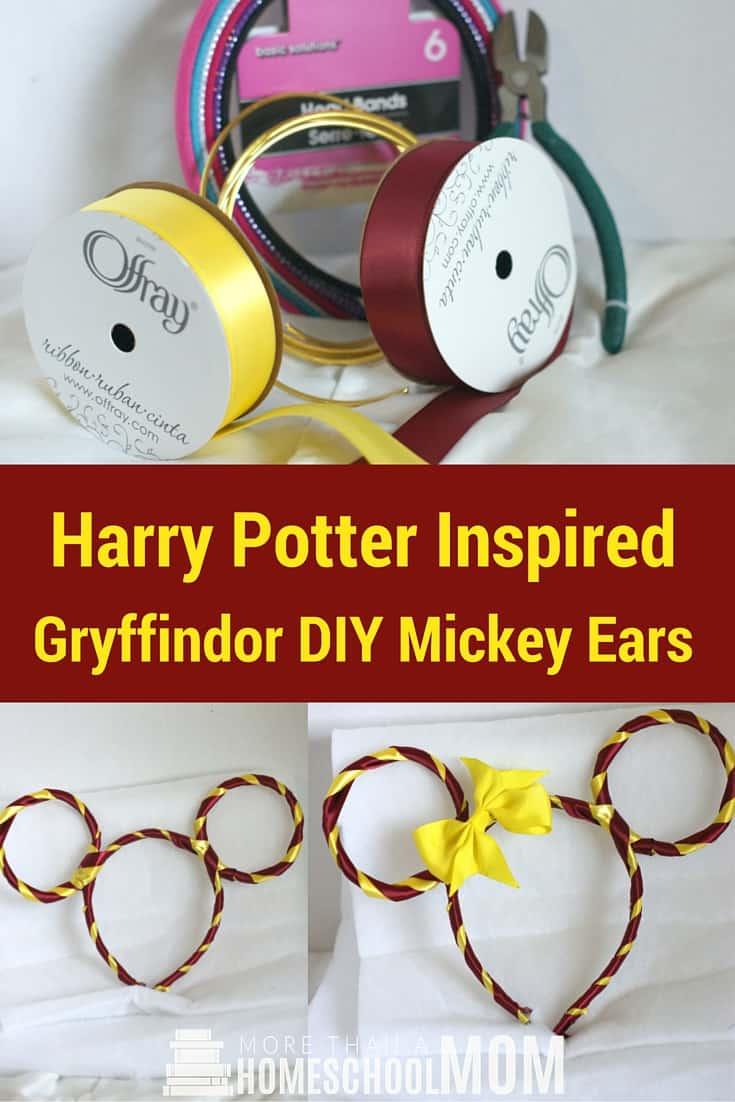 Harry Potter Inspired Gryffindor DIY Mickey Ears - #HarryPotter #Mickey #Disney #DisneyTrip #DisneyDIY #MickeyEars #DisneyDIY