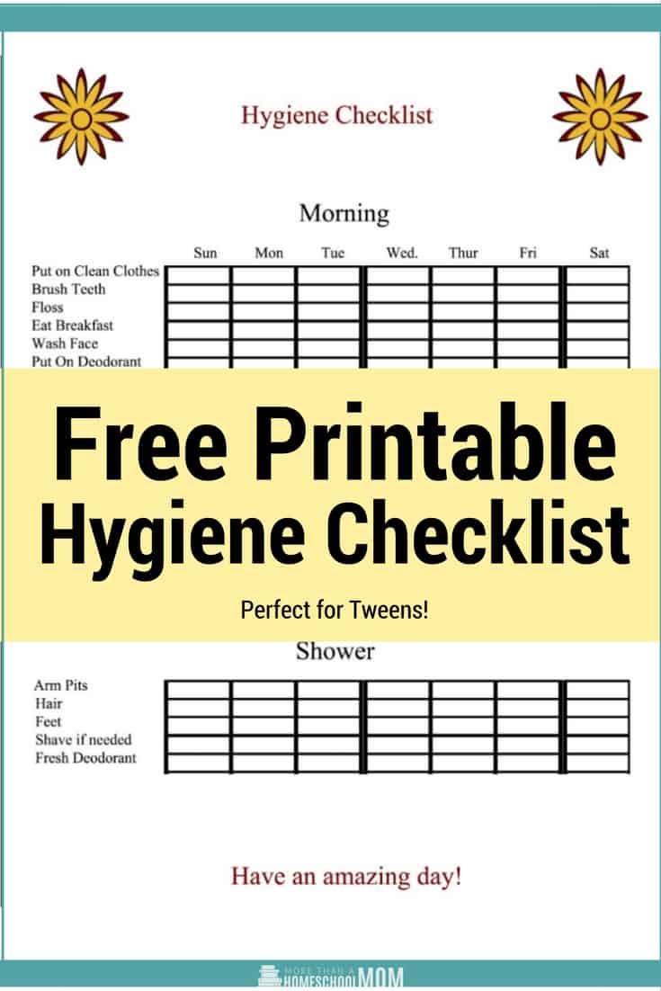 Free Printable Hygiene Checklist