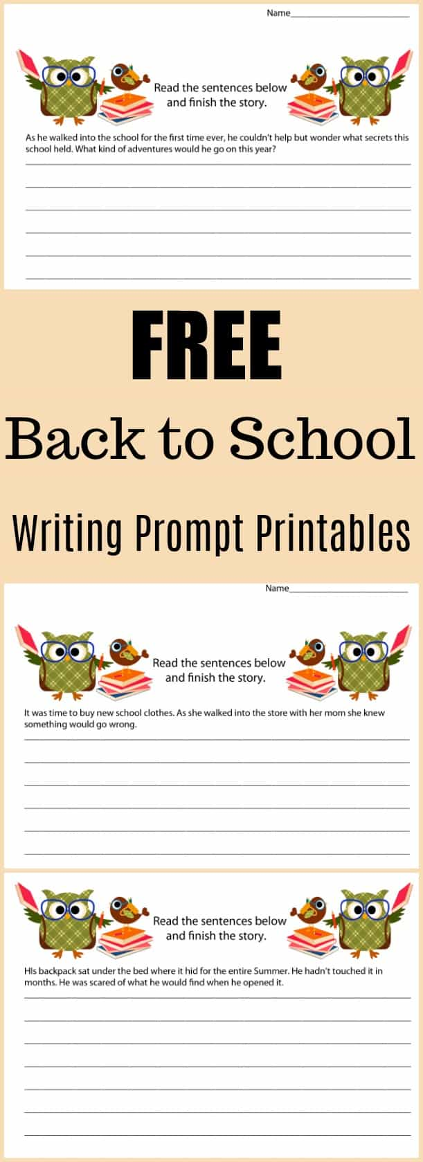 Free Back to School Writing Prompt Printable