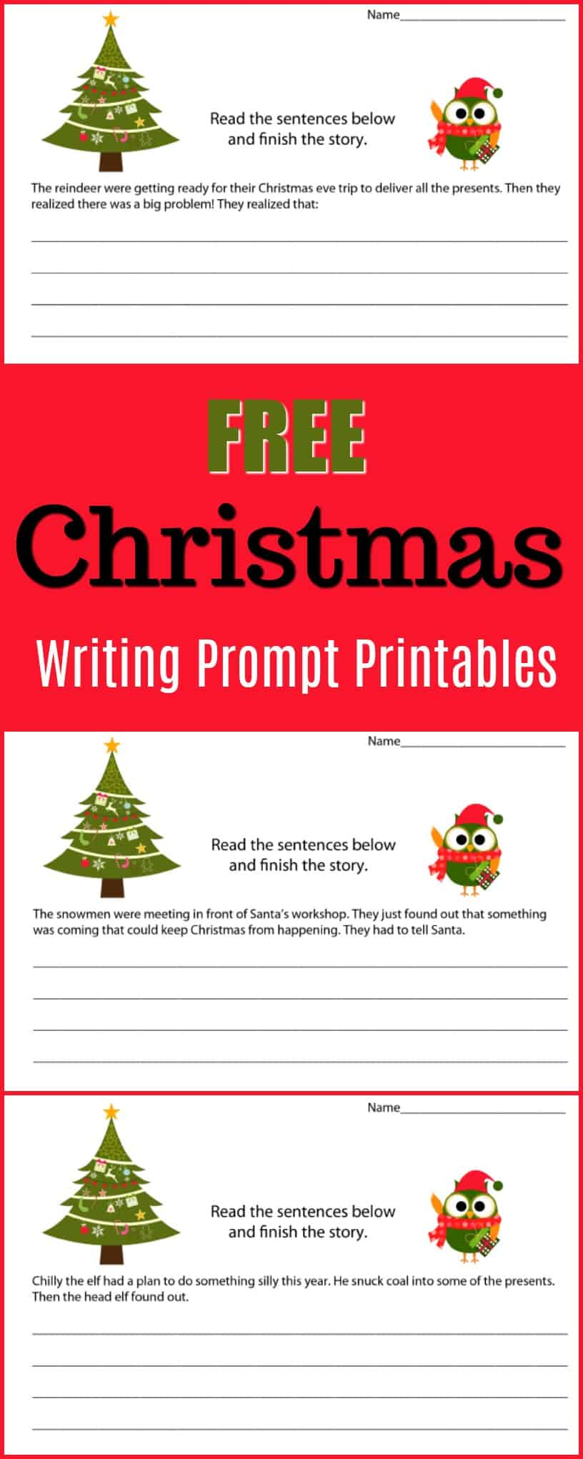 christmas writing prompt printables