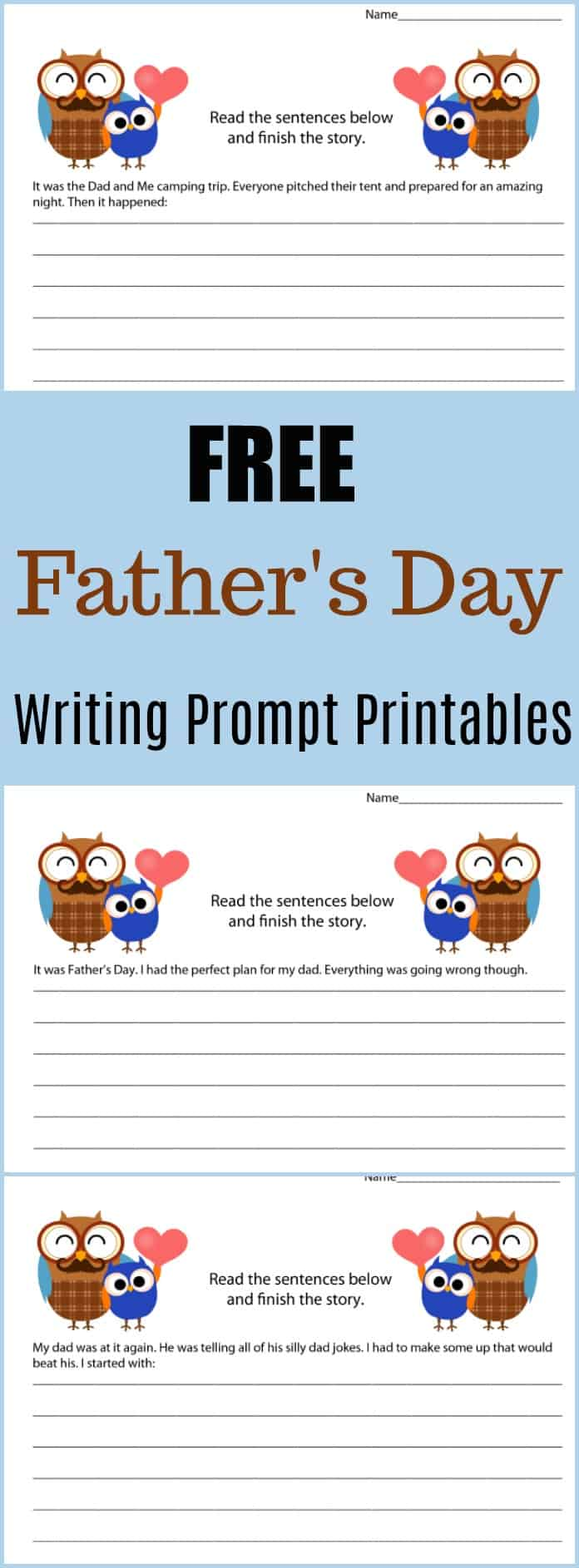 Free Father's Day Writing Prompt Printables -  #writing #writingprompt #holiday #printable #freeprintable #education #edchat #homeschool #homeschooling #fathersday