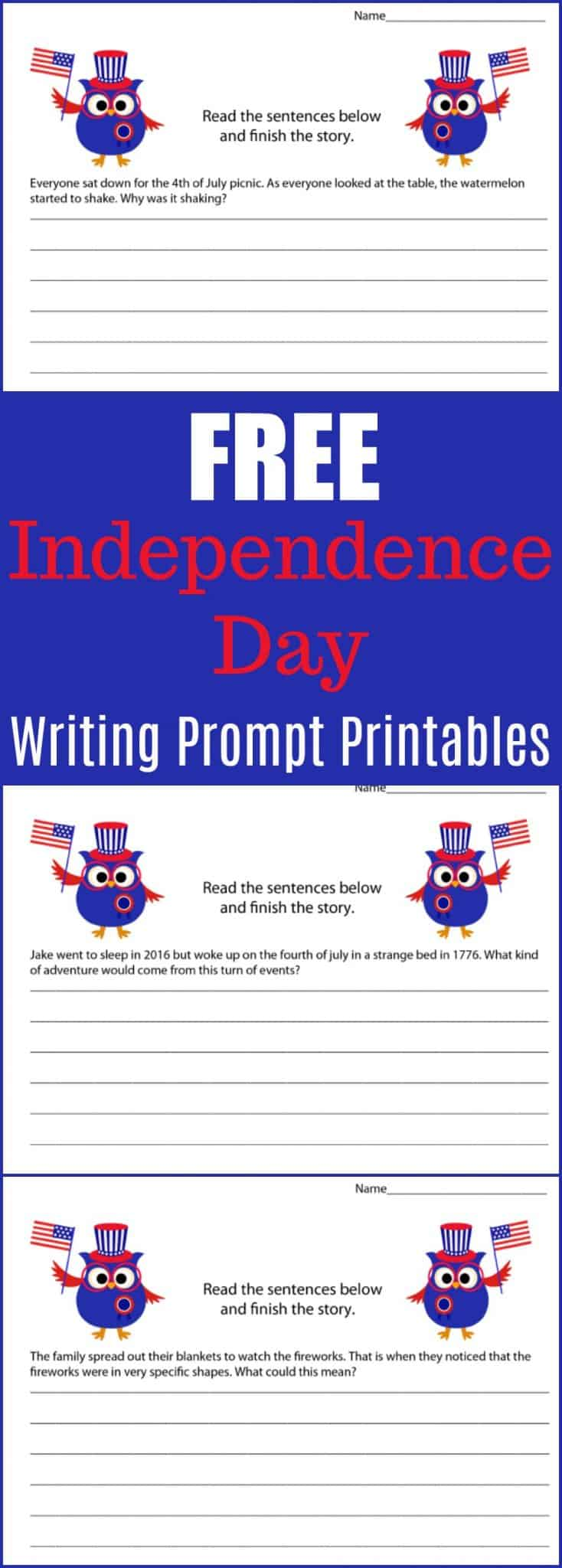 Free Independence Day Writing Prompt Printables - 4th of July Writing Prompt Printable Pack