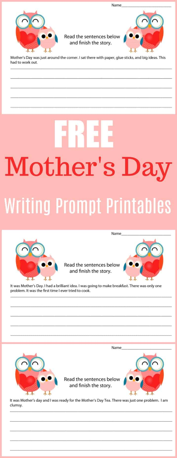 Free Mother's Day Writing Prompt Printables -  #writing #writingprompt #holiday #printable #freeprintable #education #edchat #homeschool #homeschooling  #mothersday