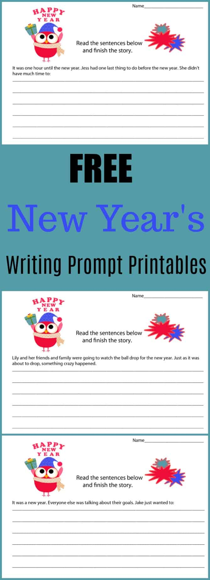 New Year's Even Holiday Writing Prompt Printables #writing #writingprompt #holiday #printable #freeprintable #education #edchat #homeschool #homeschooling #newyearseve