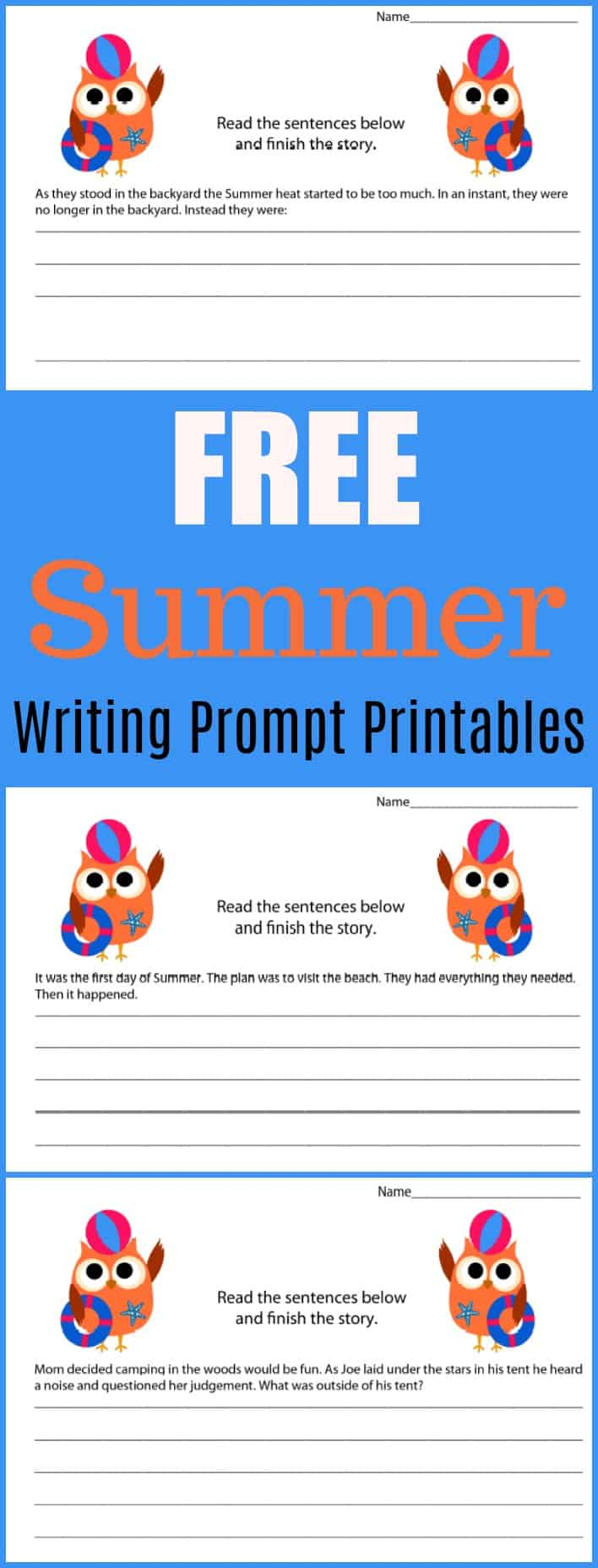 Free Summer Writing Prompt Printable