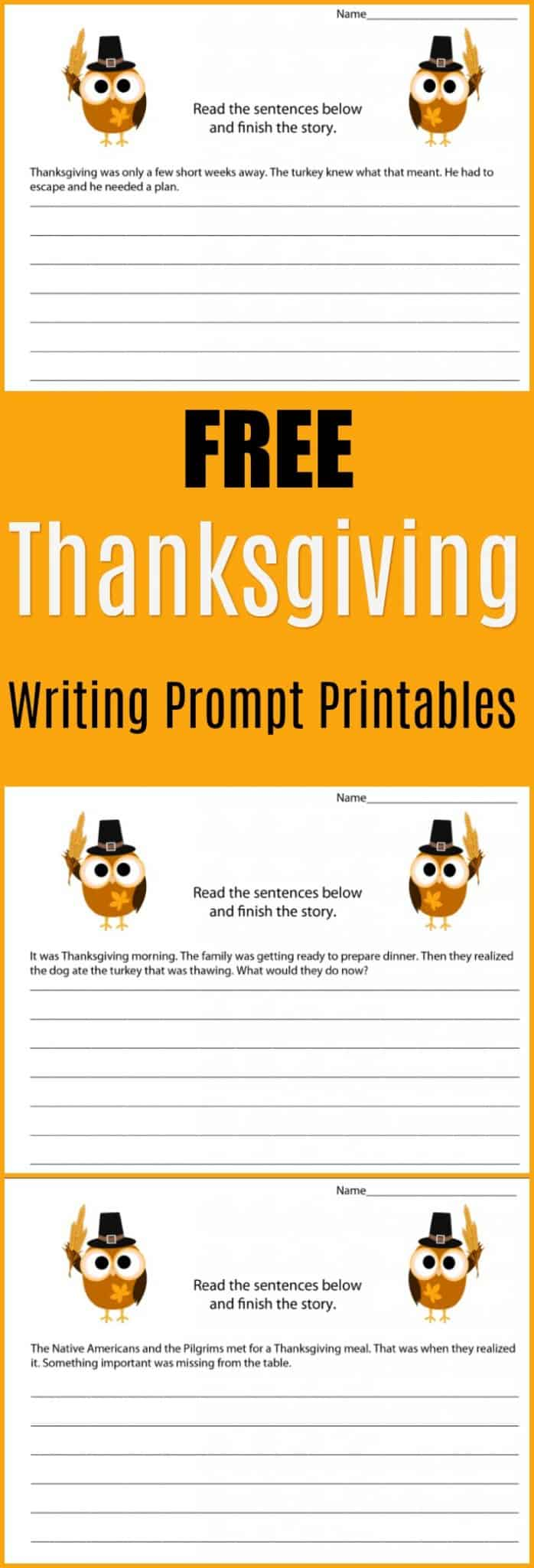 Free Thanksgiving Writing Prompt Printables - Get kids writing stories with these fun Thanksgiving writing prompts. The free printables are perfect for a classroom Thanksgiving project or for a homeschool Thanksgiving writing assignment. They would also make a fun holiday writing project. - #writing #writingprompt #holiday #printable #freeprintable #education #edchat #homeschool #homeschooling #thanksgiving