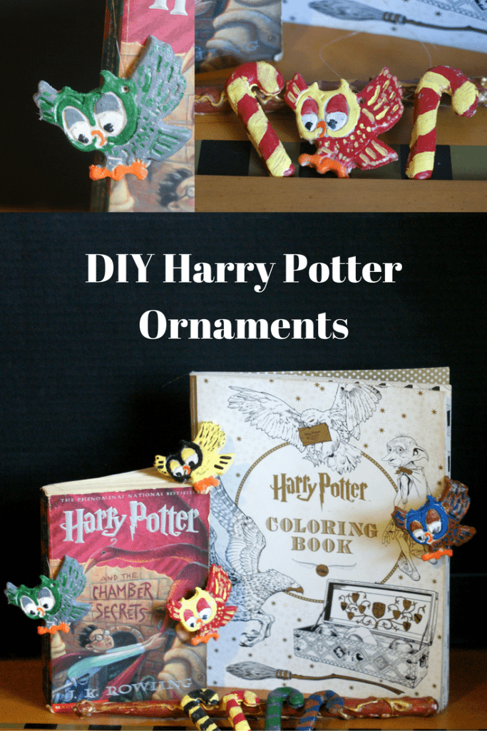 DIY Harry Potter Ornaments - This Gryffindor owl, slytherin owl, ravenclaw owl, and hufflepuff owl make great compliments to the Harry potter candy canes! Combine them in a Harry Potter gift basket or give them as a solo Harry Potter gift! This would make the perfect gift for a Harry Potter fan! Gift by house or give the full collection.  #HarryPotter #DIY #DIYOrnaments #ornaments #Christmas