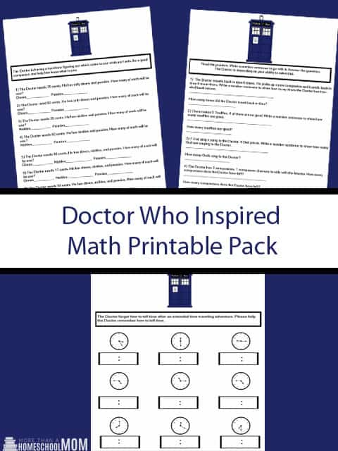 Doctor Who Inspired Multiplication Printable Pack - Doctor Who Math printables for Doctor Who Maths lessons.