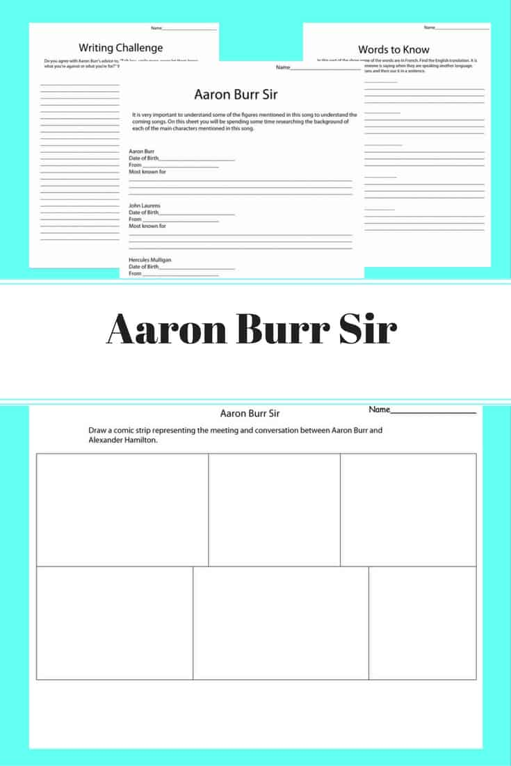 Aaron Burr Sir - Hamilton musical inspired unit study focusing on one song at a time. This unit is focused on the song Aaron Burr Sir