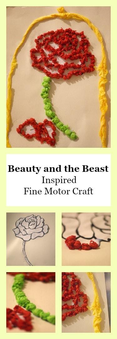 Beauty and the Beast Inspired Fine Motor Craft - FineMotor #HandsonLearning #Disney #DisneyCraft #beautyandthebeast #craft #crafting #art #artproject #homeschool #education