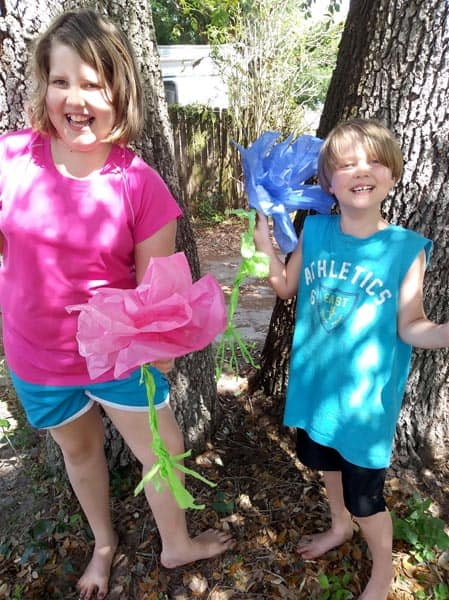 DIY Tissue Paper Flower - Parts of a Flower Lesson Idea