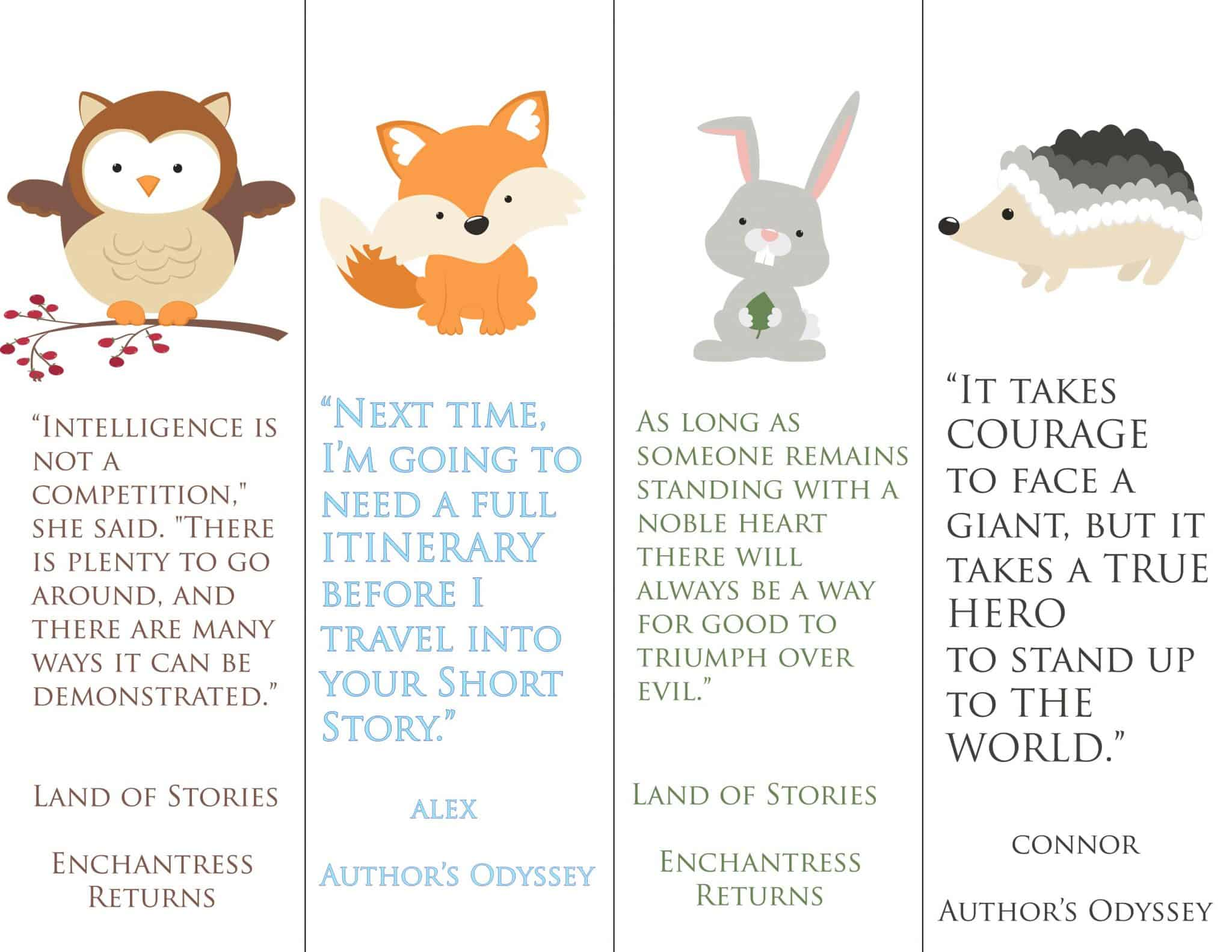 Land Of Stories Quote bookmark printable pack