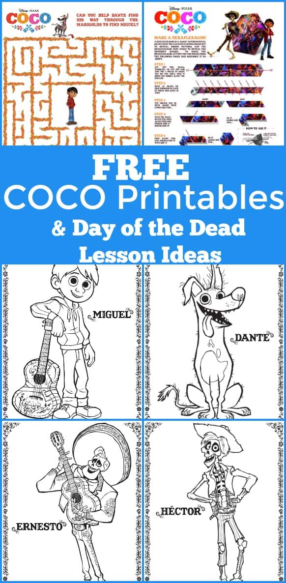 Free COCO printables and Day of the Dead Lesson Resources