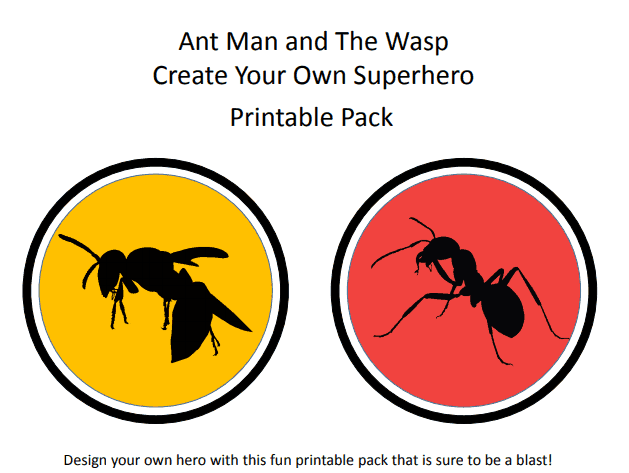 Ant Man and The Wasp Create Your Own Superhero Printable Pack