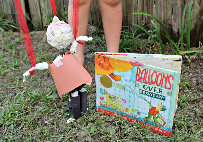This diy marionette craft makes a great companion to the Balloons over Broadway book for kids. Perfect Thanksgiving craft for kids!